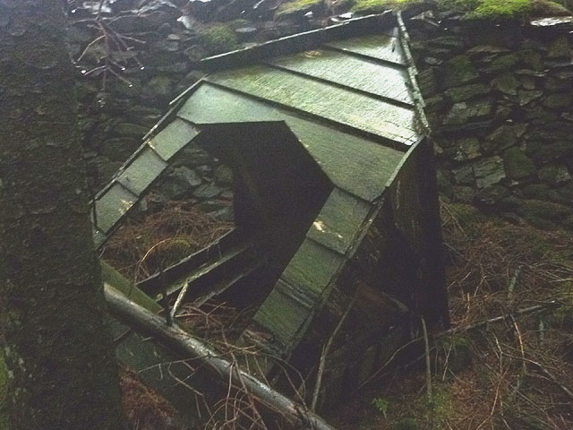 Remnant of 'Church in the Woods', a sculpture at Grizedale Forest
