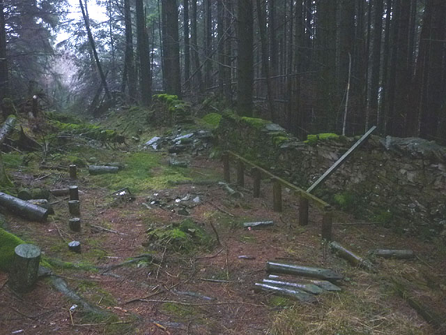 Remains of 'Church in the Woods', a sculpture at Grizedale Forest