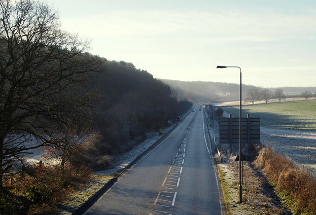 A614 from a former railway bridge, Notts.
