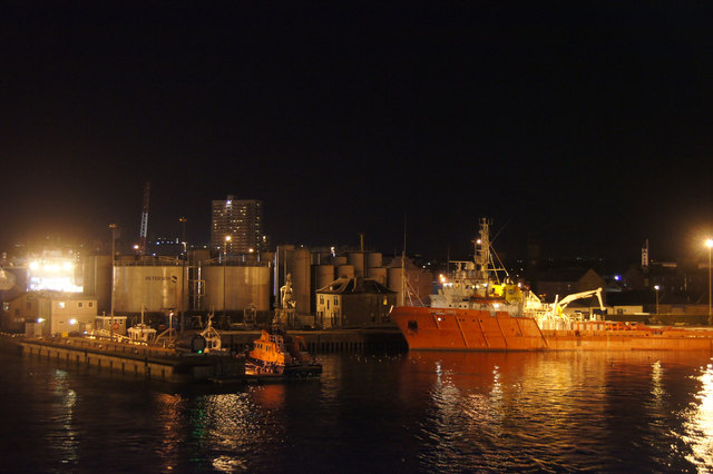 Lifeboat station and Clipper Quay, Aberdeen harbour, at night