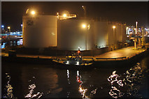NJ9505 : Point Law, Aberdeen harbour, at night by Mike Pennington