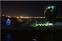 NJ9505 : Aberdeen Harbour Control Tower at night by Mike Pennington