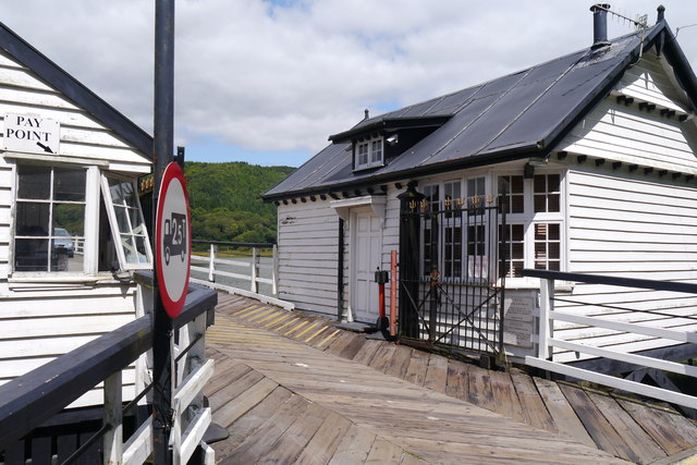 Buildings at the south end of the Penmaenpool Toll Bridge