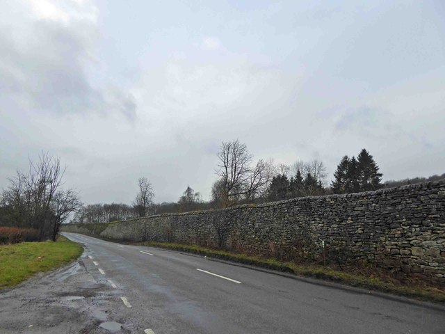Substantial limestone wall alongside the B6001 near Hassop