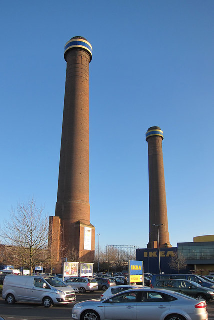 Former power station towers at Ikea