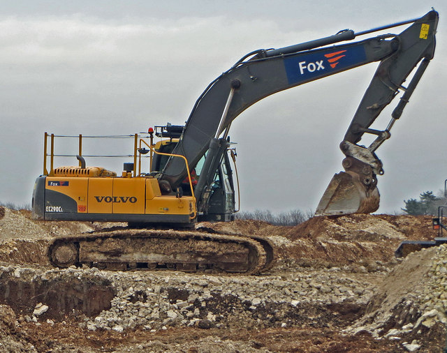 Excavator at Singleton Birch Chalk Quarry