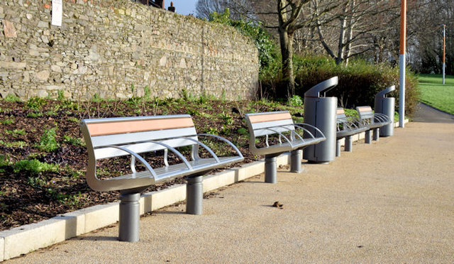 New seats and litter bins, Orangefield Park, Belfast (January 2015)