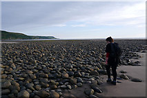 SH6014 : Rocks on the beach at South Bank near Fairbourne by Phil Champion