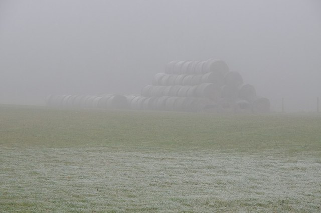 Straw bales in the mist