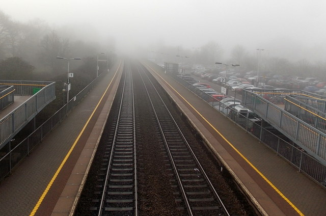 Into the fog at Tiverton Parkway railway station