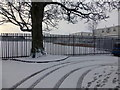 H4572 : Tracks in the snow, Holmview Avenue, Omagh by Kenneth  Allen