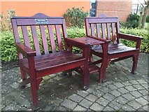 SJ9223 : St George's Hospital, Stafford: seat outside the Learning Centre by Jonathan Hutchins