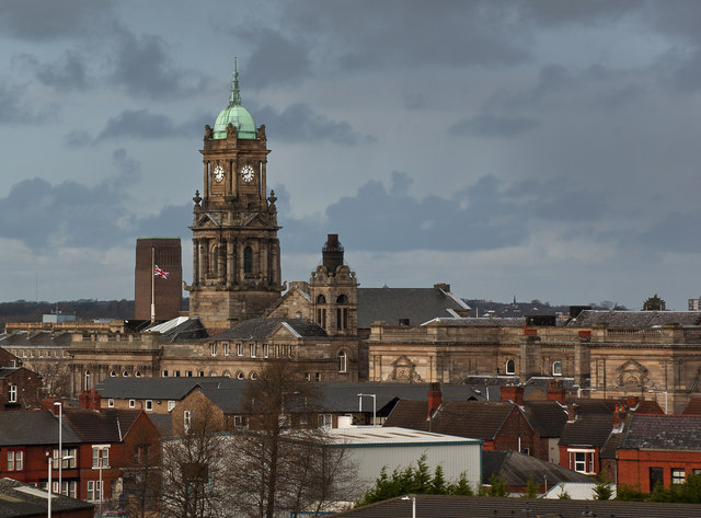 Birkenhead Town Hall viewed from the top of St Mary's Tower