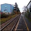 SO9548 : Single track, single platform at Pershore railway station by Jaggery