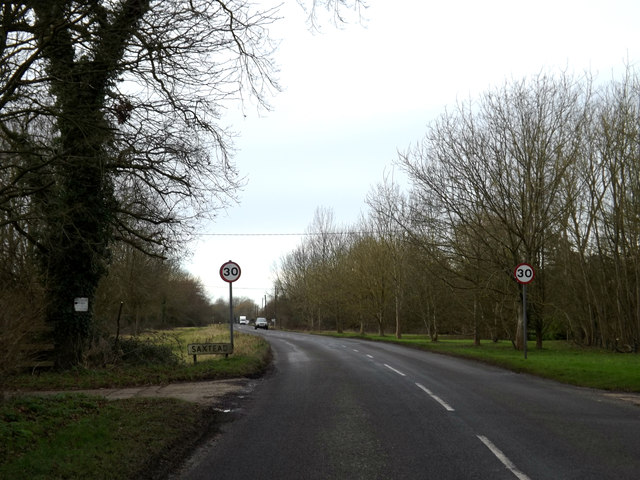 Entering Saxtead on the B1119 Saxtead Road