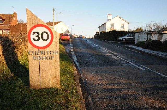 Road entering Cheriton Bishop