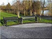 SO8455 : Three seats near the River Severn, Henwick, Worcester by P L Chadwick