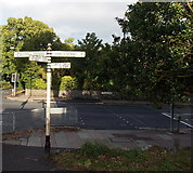 SX9063 : Signpost at a junction near Torre Abbey, Torquay by Jaggery