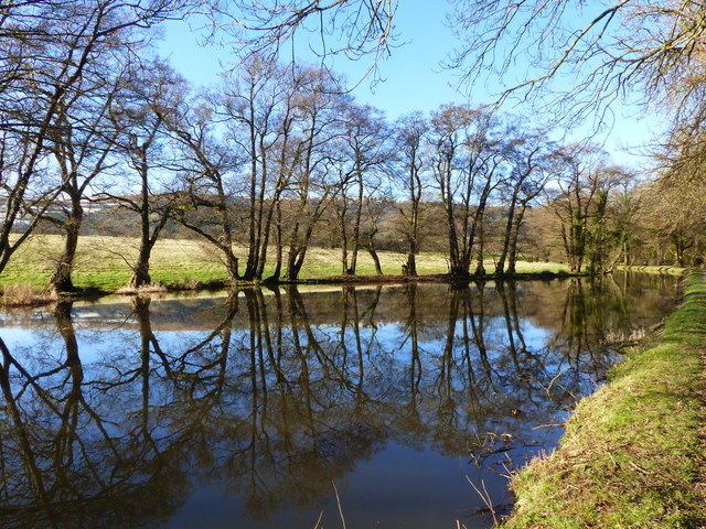 Monmouthshire and Brecon Canal - turning area, with reflections