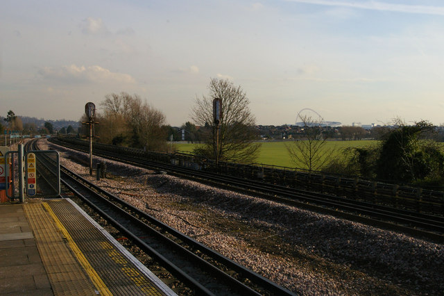 Northwick Park station: view south-east towards Wembley stadium