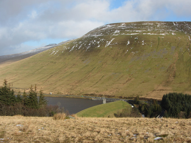 View of Beacons Reservoir dam towards Cefn Crew