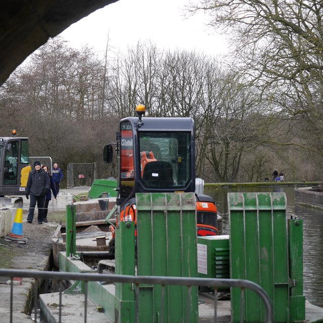 Workboats at Pollard Lane bridge near Newlay, Leeds and Liverpool Canal