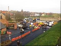 NT9953 : Resurfacing Castlegate Car Park, Berwick-upon-Tweed by Graham Robson