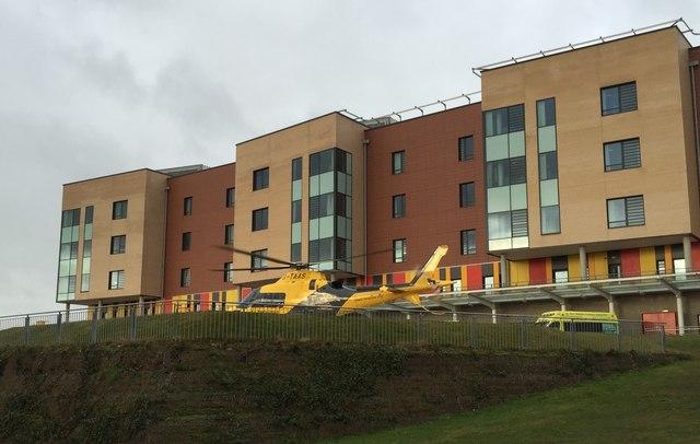 Royal Stoke University Hospital: air ambulance on helipad