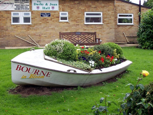 A boat full of flowers at Bourne, Lincolnshire