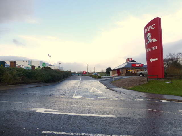 Entrance road to KFC, Omagh by Kenneth  Allen