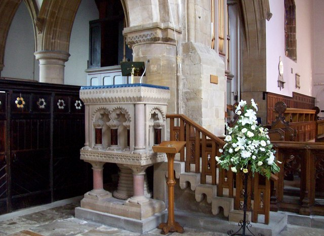 The pulpit in the Abbey Church, Bourne, Lincolnshire