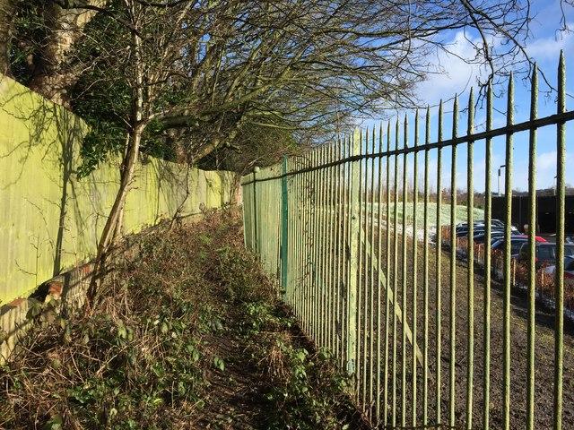 Footpath boundary behind Royal Stoke University Hospital