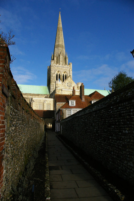 Chichester cathedral up St Richard's Walk