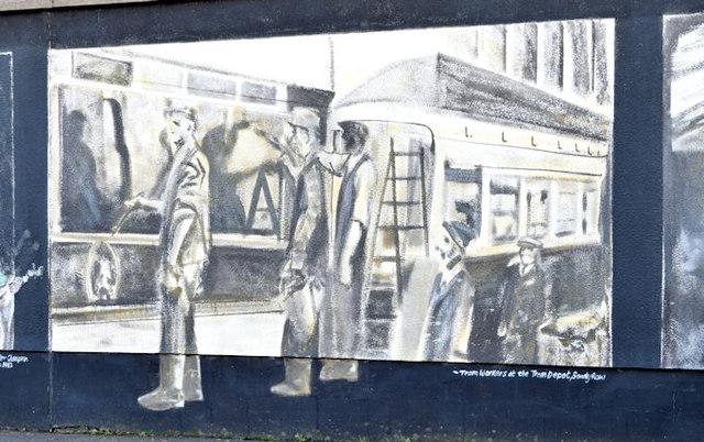 Tram workers mural, Belfast (February 2015)