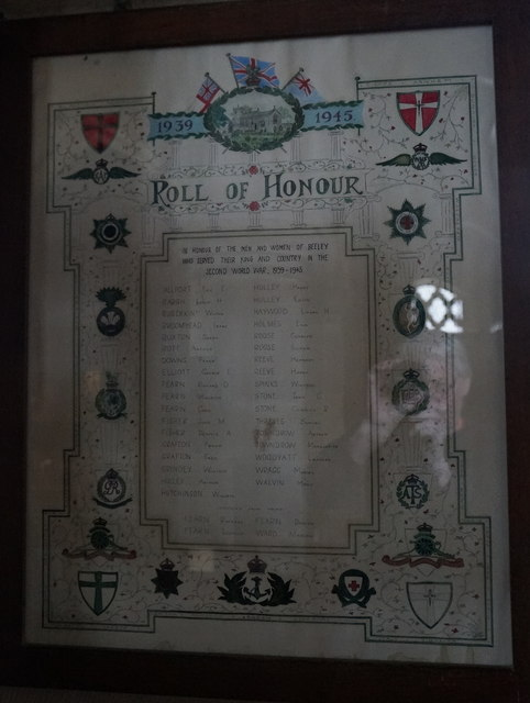 Roll of Honour in St Anne's Church, Beeley
