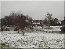 TQ2258 : Epsom: a wintry view over Tattenham Corner by Chris Downer