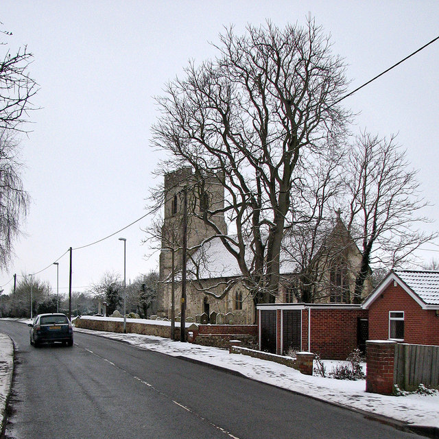 Hauxton: St Edmund's Church in February