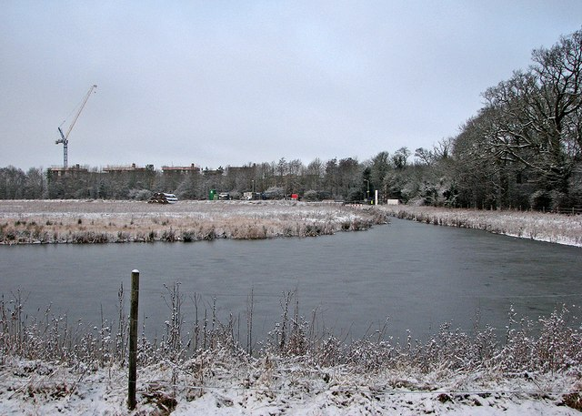 Frozen pond by the guided busway