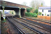 TQ0471 : Approaching Staines Station from the east by Roger Templeman
