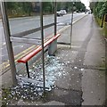 SZ0892 : Smashed bus shelter on Wimborne Road by David Lally