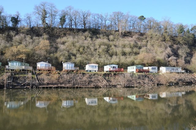 Caravan park at Clevelode reflected in the Severn