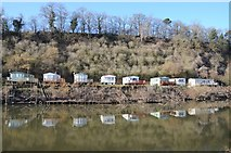 SO8346 : Caravan park at Clevelode reflected in the Severn by Philip Halling