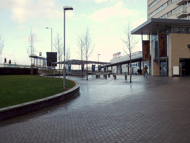 Bakeman House entrance by Church Road with Tesco Extra beyond, South Yardley