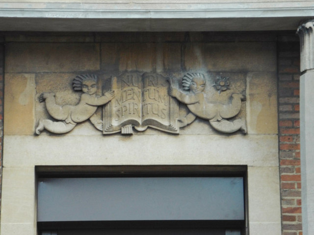 Frieze above entrance, public library, Yardley Road, South Yardley