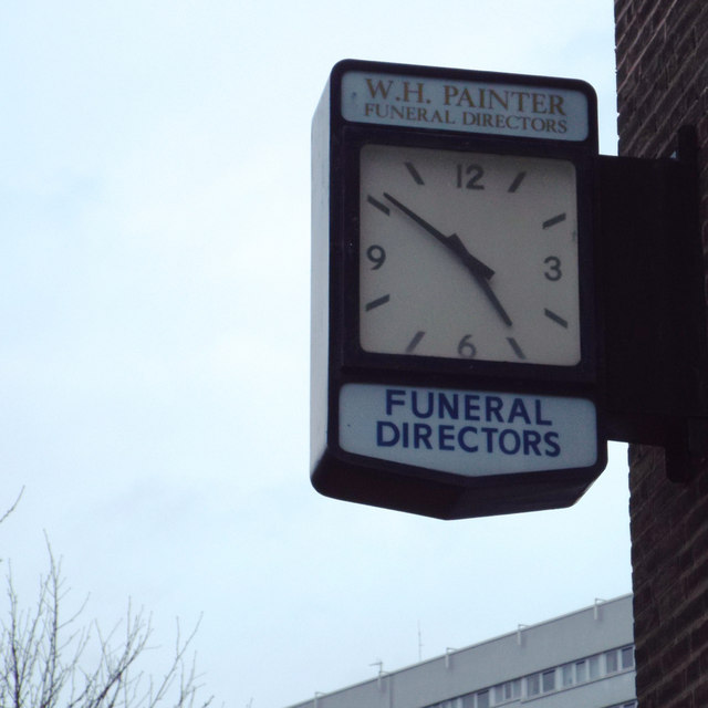 Wall-mounted clock at W.H.Painter, Funeral Directors, Yardley Road, South Yardley