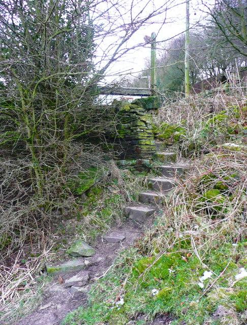 Steps at the eastern end of Elland FP01