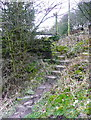 SE0822 : Steps at the eastern end of Elland FP01 by Humphrey Bolton