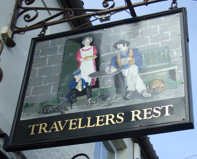 Sign for the Travellers Rest, Long Riston