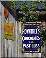 SP0472 : Old enamel advertising signs on a shed, Rowney Green by Robin Stott
