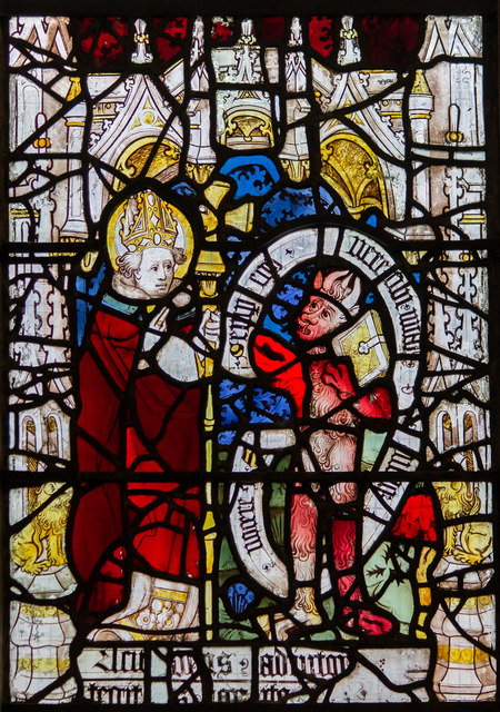 Detail, (3d) St Martin window, St Martin le Grand church, York